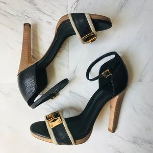 Tory Burch Navy Blue Gold Buckle Ankle Strap Heels